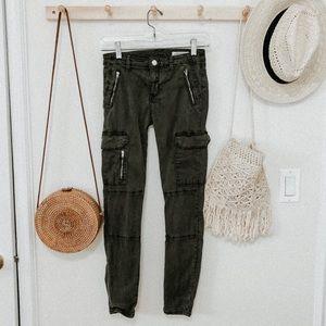 Zara olive green skinny cargo pants women's size 2